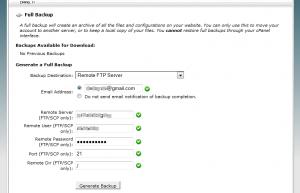 Cpanel Full backup via FTP