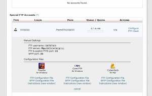 Cpanel Special FTP view