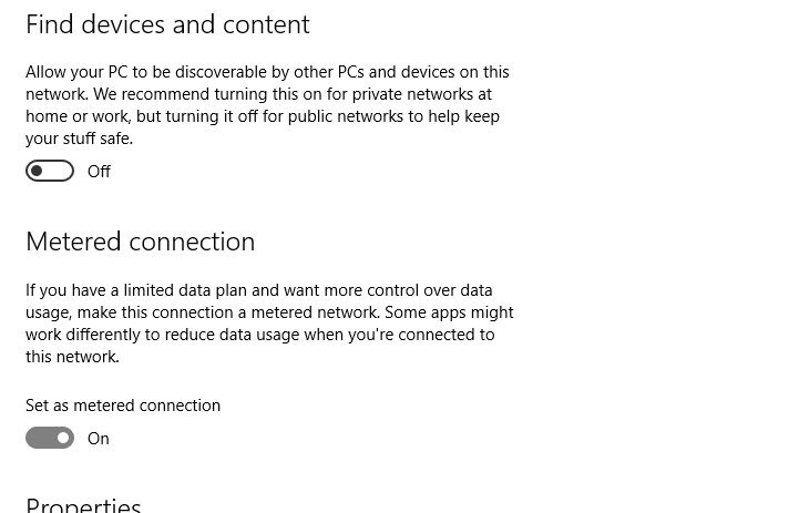 Windows 10 Set metered connection