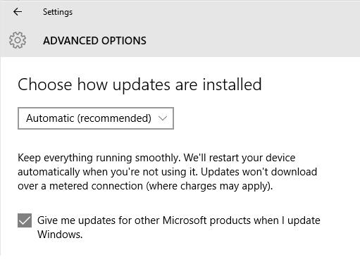 Windows 10 Windows Update Advanced Options