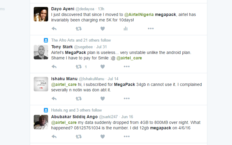 airtel megapack twitter complaint