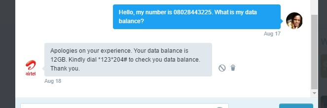 airtel what is my data balance twitter